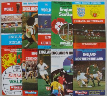 Collection of 10 different ENGLAND football programmes between 1976 and 1978